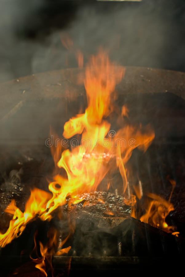 Flaming Hamburger royalty free stock photography