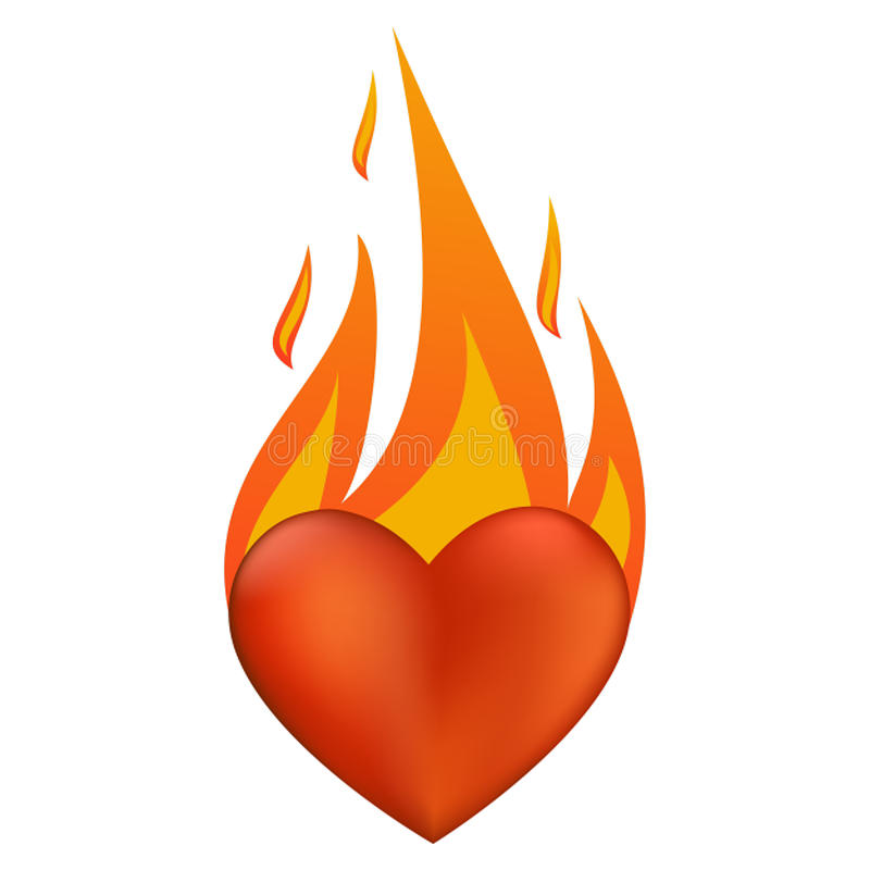 Flaming heart stock vector. Image of love, object, fashion ...