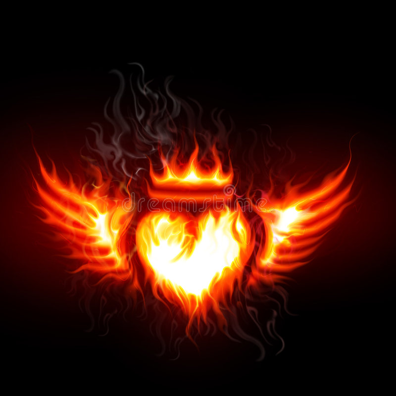 Free Flaming Heart And Wings Stock Images - 5705274
