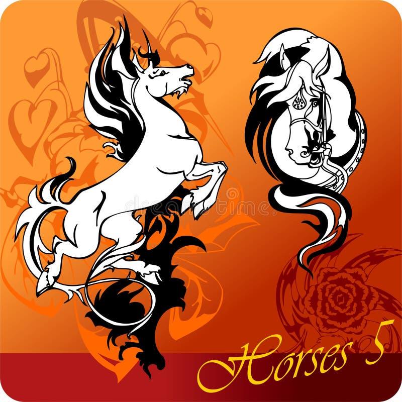 Flaming Horses. Vector illustration ready for vinyl cutting stock illustration