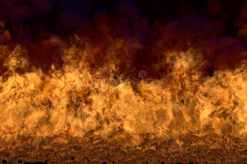 Flame from picture bottom corners - fire 3D illustration of cosmic fiery fire, sylized frame with dark smoke isolated on black. Flaming lava on black background stock photography