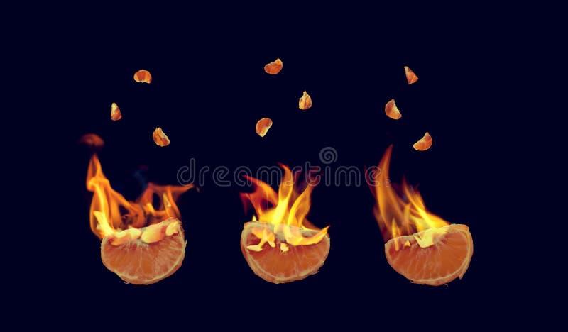 Flaming mandarins royalty free stock image