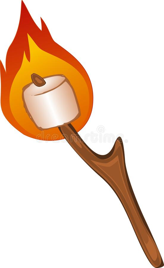 Flaming Marshmallow. A flaming marshmallow on a stick stock illustration