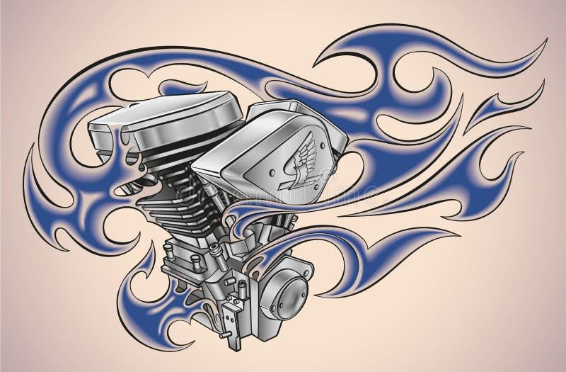 Flaming motor tattoo royalty free illustration