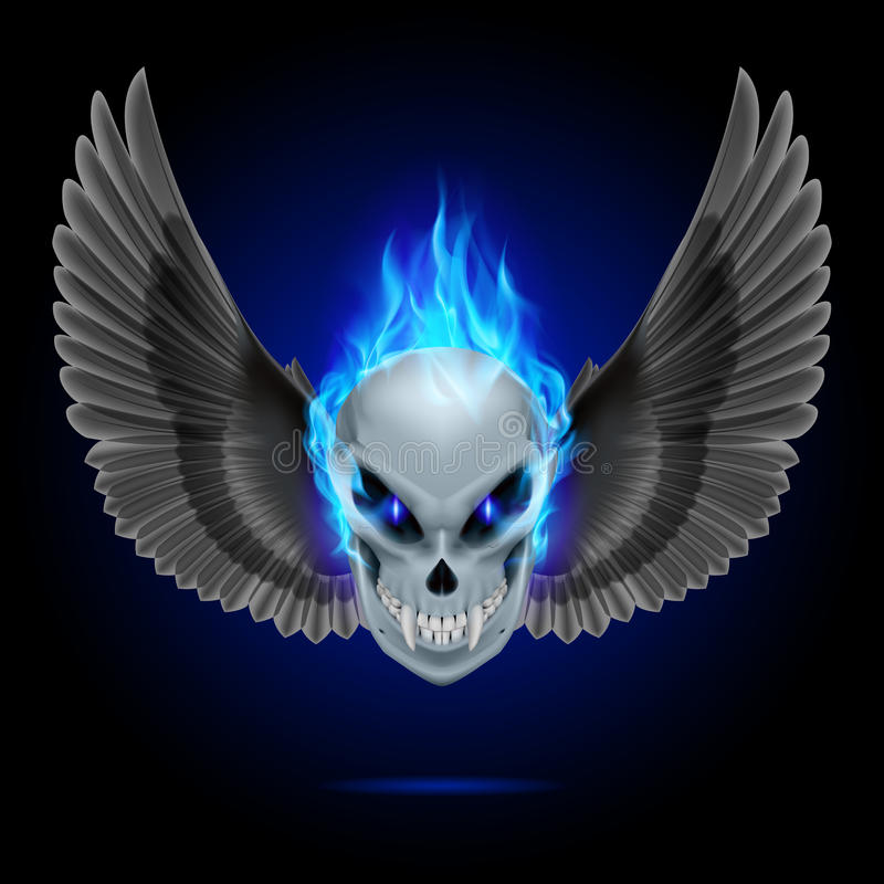 Flaming mutant skull. Mutant skull with long fangs, blue flame and black wings stock illustration