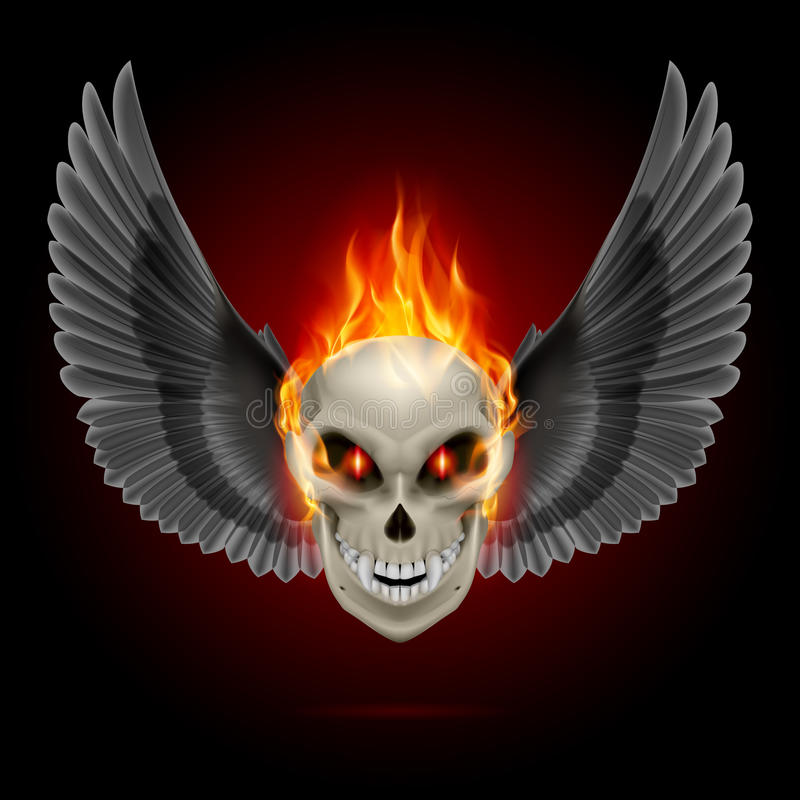 Flaming mutant skull. Mutant skull with orange flame and black wings royalty free illustration