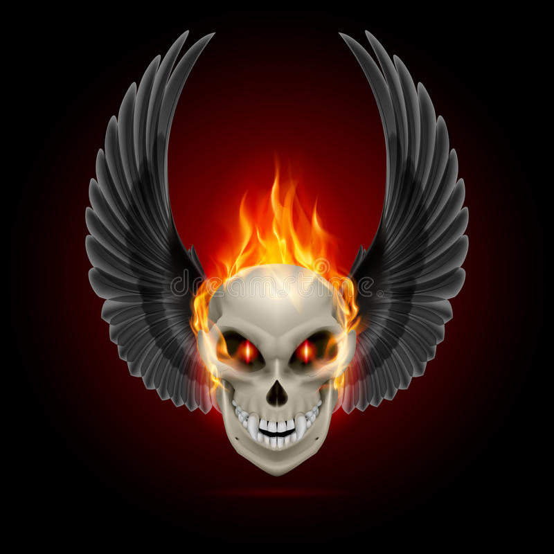 Flaming mutant skull. Mutant skull with orange flame and raised wings stock illustration