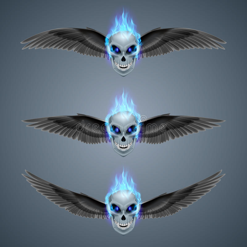 Flaming mutant skull. Set of mutant skulls with long fangs, blue flame and black wings vector illustration