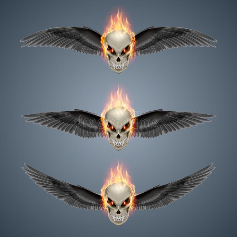 Flaming mutant skulls. Set of mutant skulls with long fangs, orange flame and black wings stock illustration