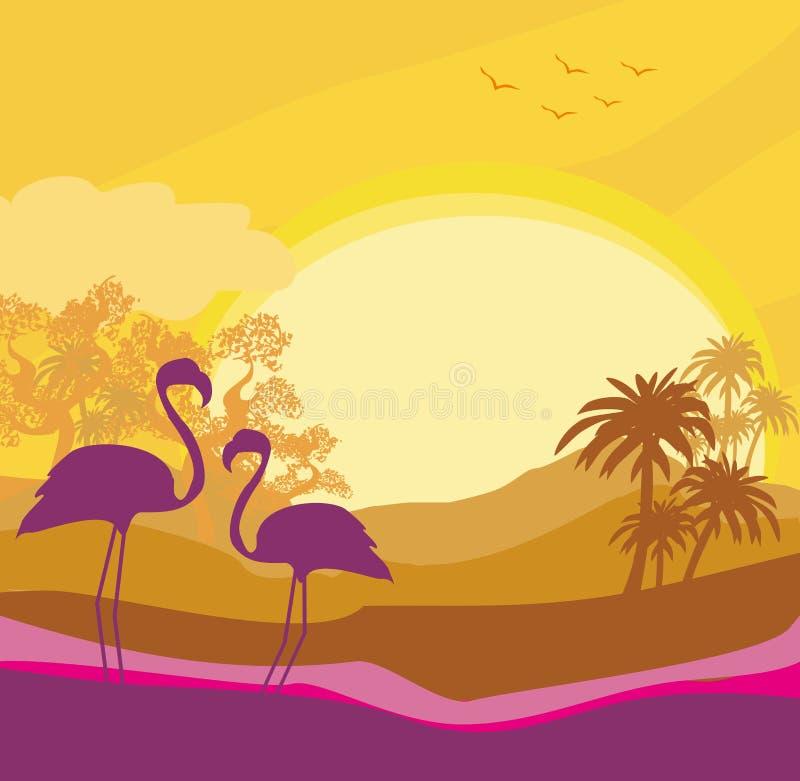 Flaming para w dzikim natura krajobrazie ilustracji