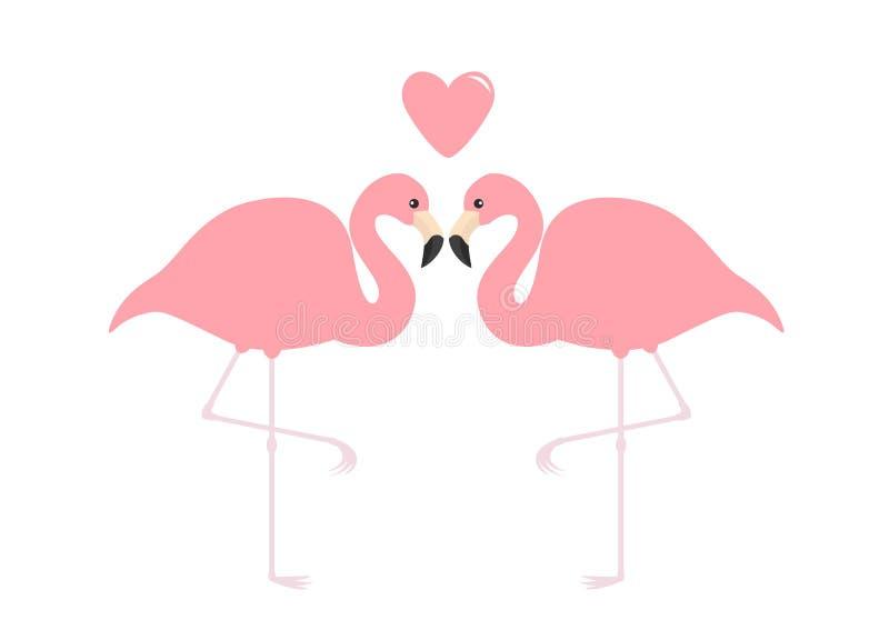 Flaming pary menchii serce Egzotyczny tropikalny ptak Zoo zwierzęcia kolekcja Śliczny postać z kreskówki Kocha kartka z pozdrowie ilustracji