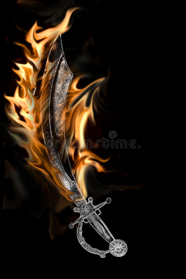 Flaming Pirate Cutlass Sword royalty free stock images