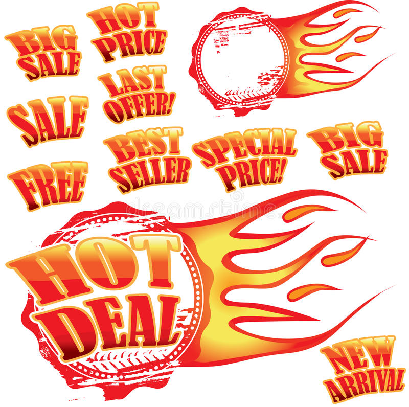 Download Flaming Sale Stickers And Rubber Stamp Stock Vector - Illustration: 11242851
