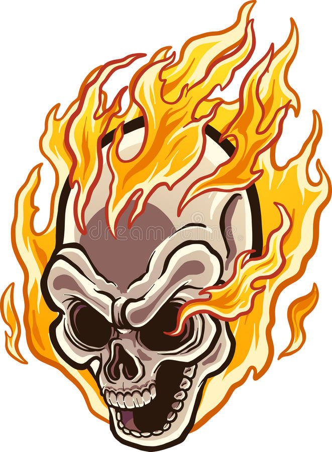 Flaming skull. Flaming cartoon skull. Vector clip art illustration with simple gradients. Skull and flames on separate layers vector illustration