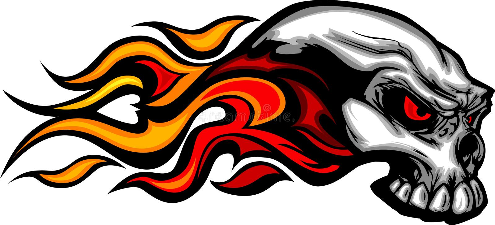 Flaming Skull Graphic Image vector illustration