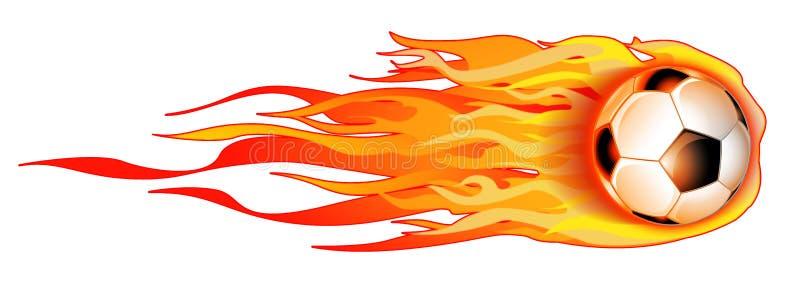 Flaming Soccer Ball On White Illustration stock photos