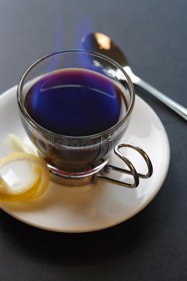 Flaming Spanish coffee stock images