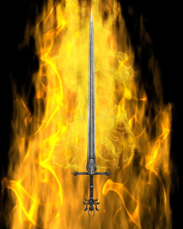 Flaming Sword royalty free illustration