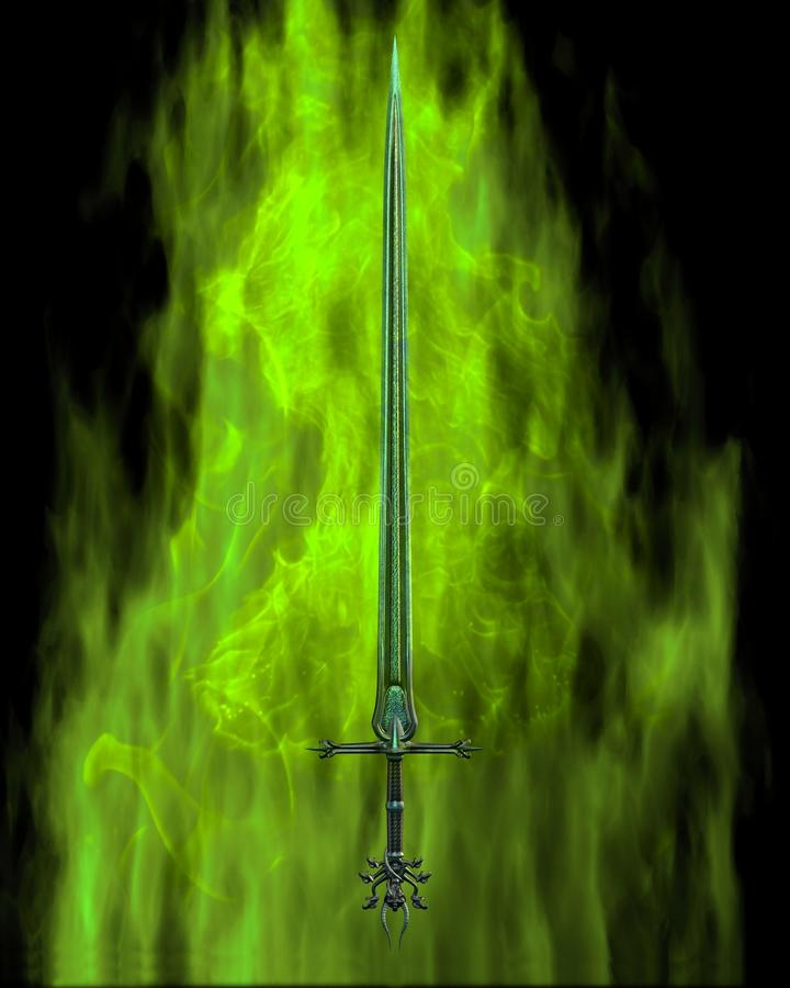 Flaming Sword - green fire royalty free illustration