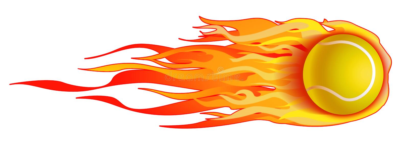Flaming Tennis Ball Illustration isolated stock illustration