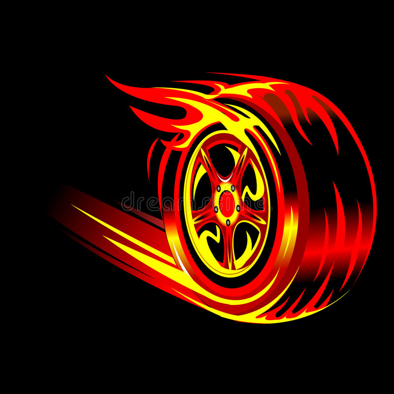 Flaming wheel stock photography