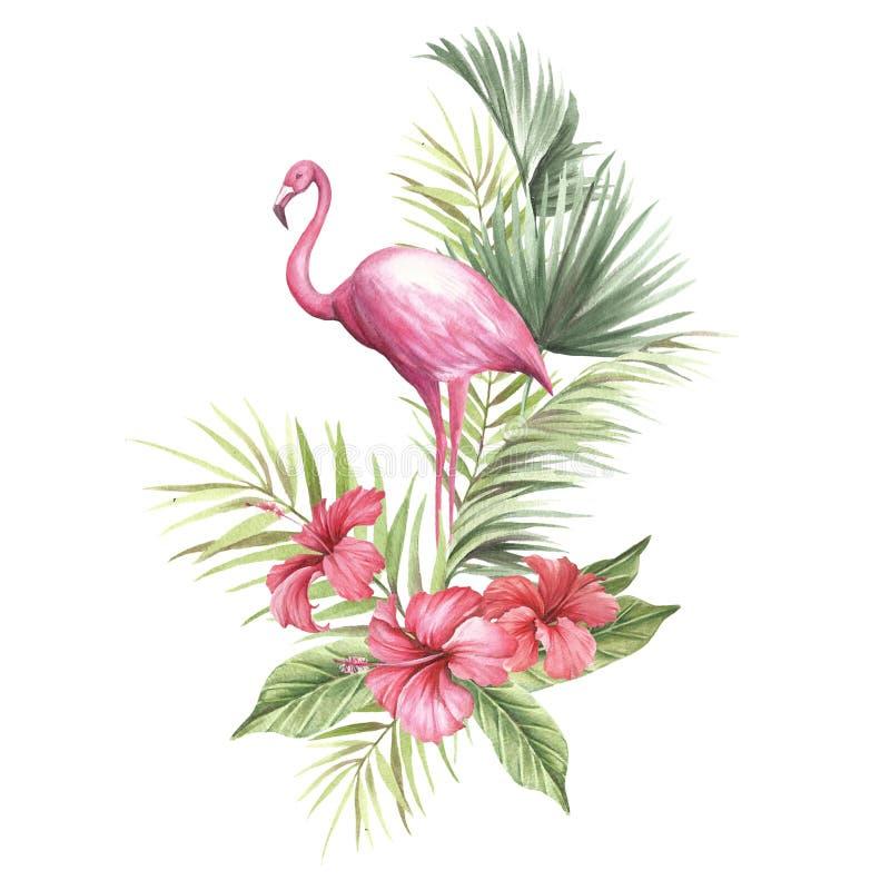 Flaming z tropikalnymi kwiatami i liściem Ręka remisu akwareli ilustracja royalty ilustracja