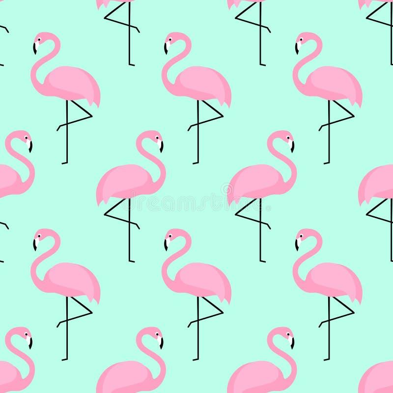 Flaminga bezszwowy wzór na mennicy zieleni tle royalty ilustracja