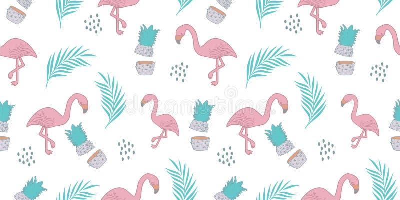 Flaminga bezszwowy wzór z modnego lata egzotycznego tła wektorową ilustracją gotową dla druku royalty ilustracja