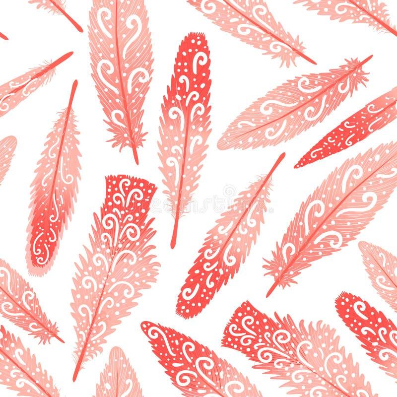 Flaminga brigth piórkowa kolorowa ręka rysujący zawijasy bezszwowy wzoru Wektorowa ilustracja odizolowywająca na bielu royalty ilustracja