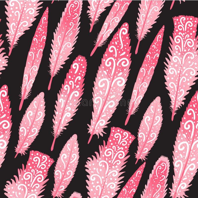Flaminga brigth piórkowa kolorowa ręka rysujący zawijasy bezszwowy wzoru Wektorowa ilustracja odizolowywająca na zmroku ilustracja wektor
