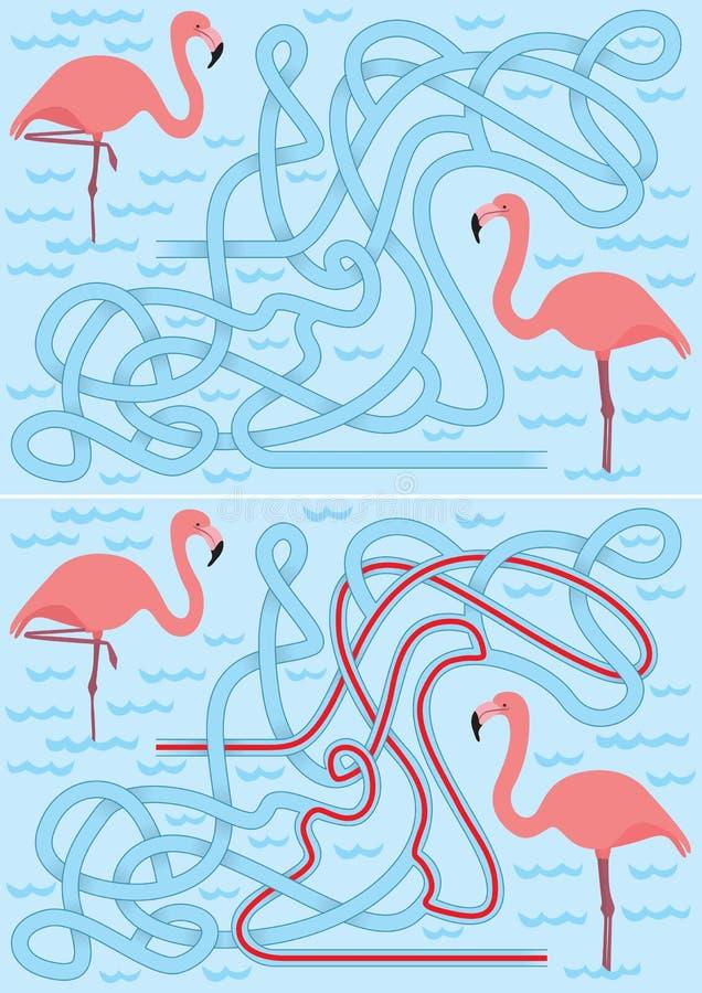 Flaminga labirynt ilustracja wektor
