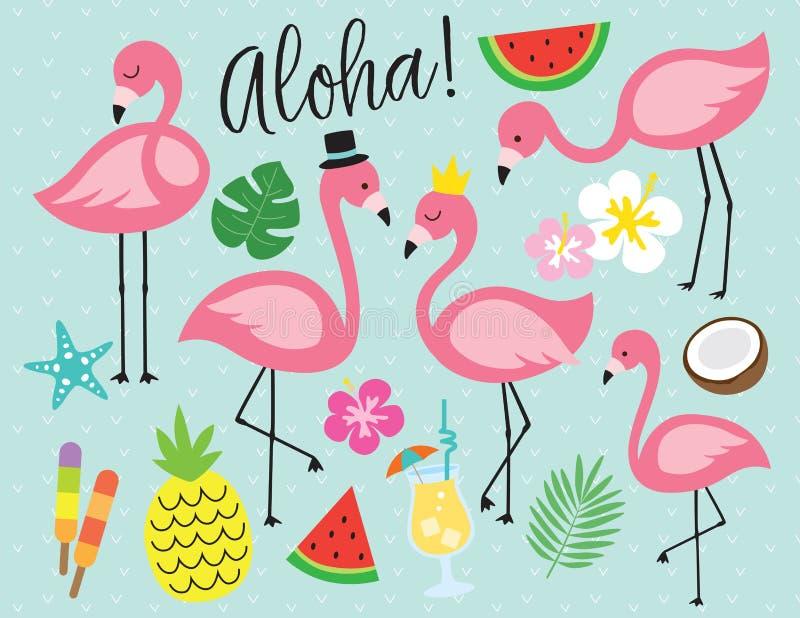 Flaminga lata wektoru Tropikalna ilustracja ilustracji