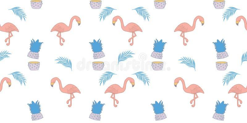 flaminga lata wzór Modnego egzotycznego tropikalnego pastelowych kolorów tła bezszwowy rysunek ilustracji