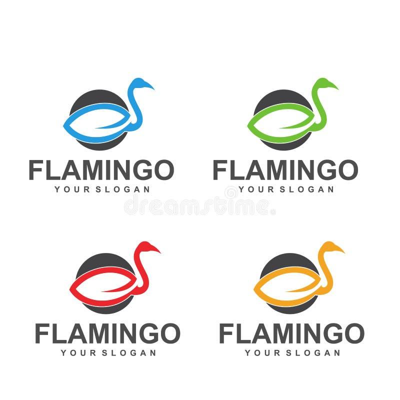 Flaminga logo projekta Wektorowy wizerunek, szablon, zwierzę ilustracja wektor