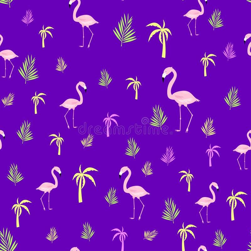 Flaminga palmowy bezszwowy wzór royalty ilustracja