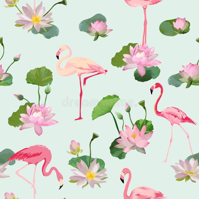 Flaminga ptak i Waterlily kwiatów tło retro bezszwowy wzoru ilustracji