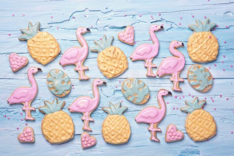 Download Flamingo ananas cookies stock photo. Image of pastel - 115861638