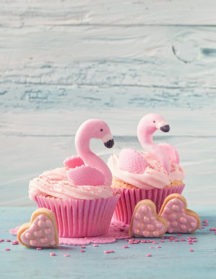 Download Flamingo cup cakes stock photo. Image of pastel, blue - 115966064