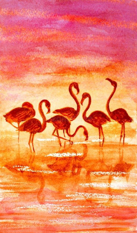 Flamingo auf See und Sonnenuntergang lizenzfreie abbildung