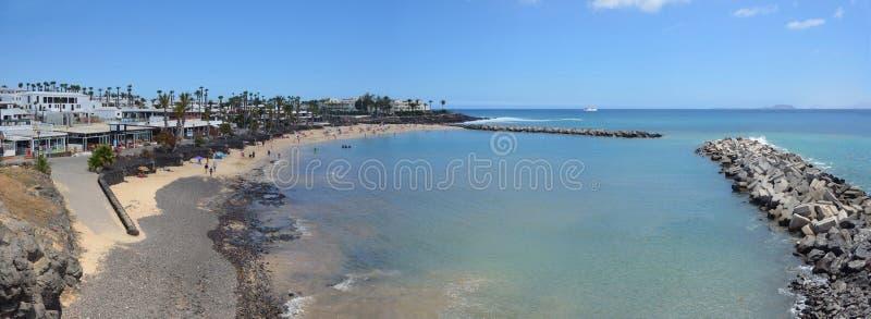 Flamingo beach at Playa Blanca stock photos
