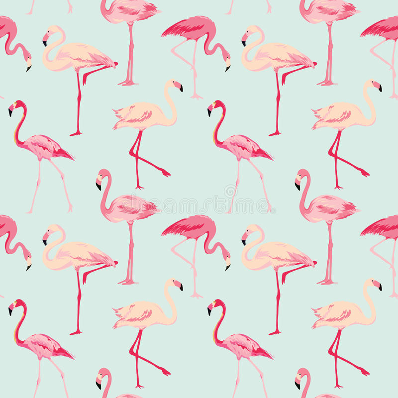 Flamingo Bird Background. Retro seamless pattern in vector