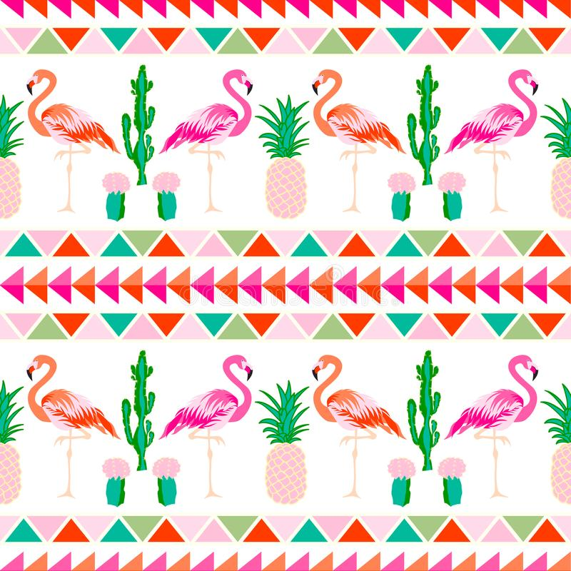 Flamingo bird with tropical cactus and pineapple ba royalty free illustration