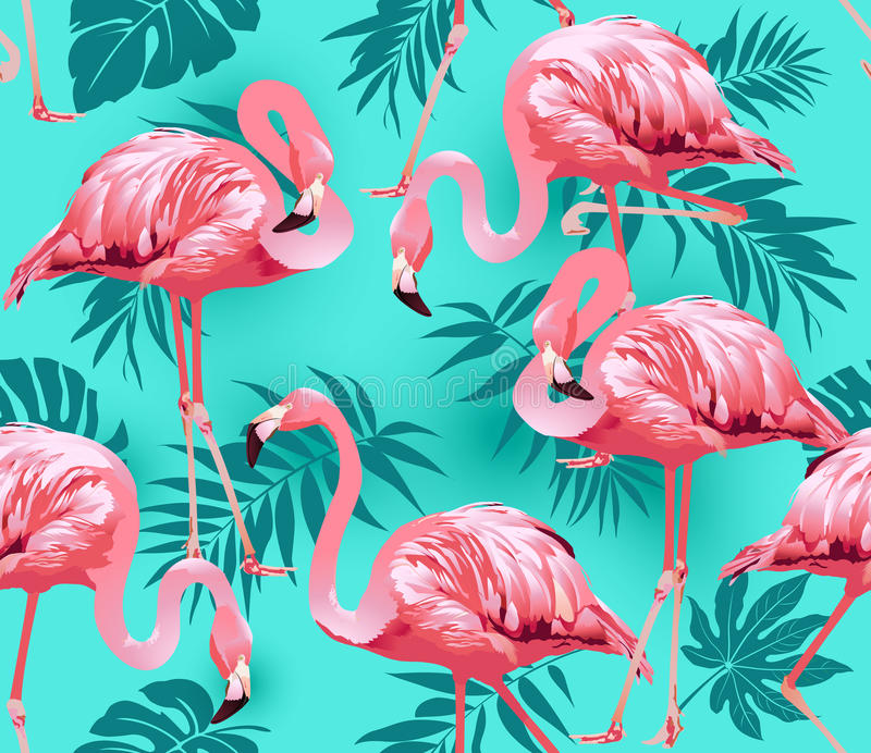 Vintage Style Tropical Bird And Flowers Background: Flamingo Bird And Tropical Flowers Background Stock Vector