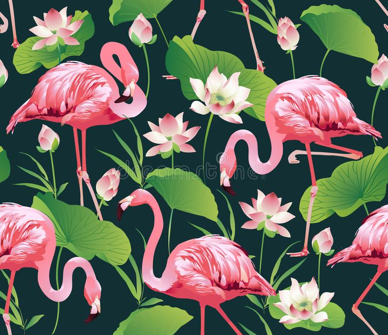 Flamingo Bird and Tropical lotus Flowers Background - Seamless pattern stock illustration