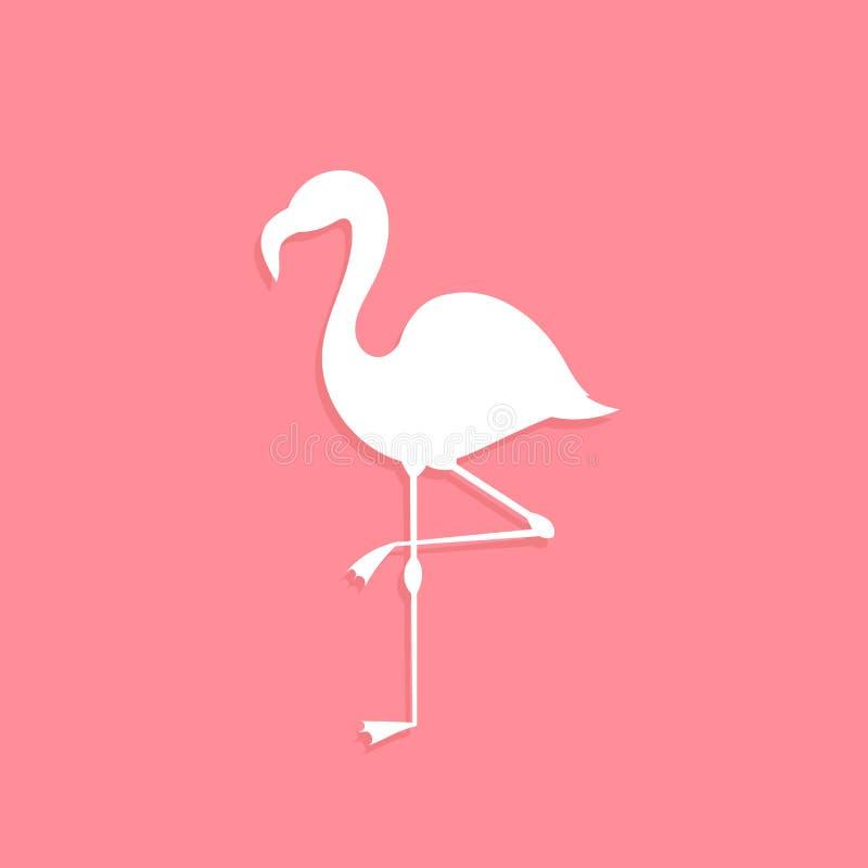 Flamingo bird white shape on pink background stock illustration