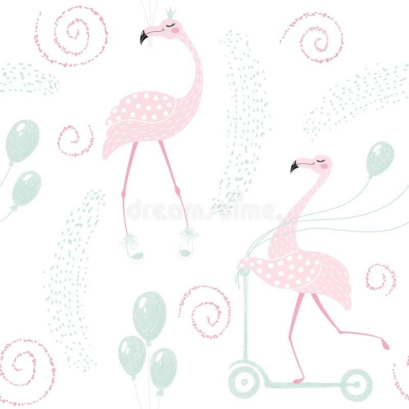Flamingo birthday seamless pattern stock illustration