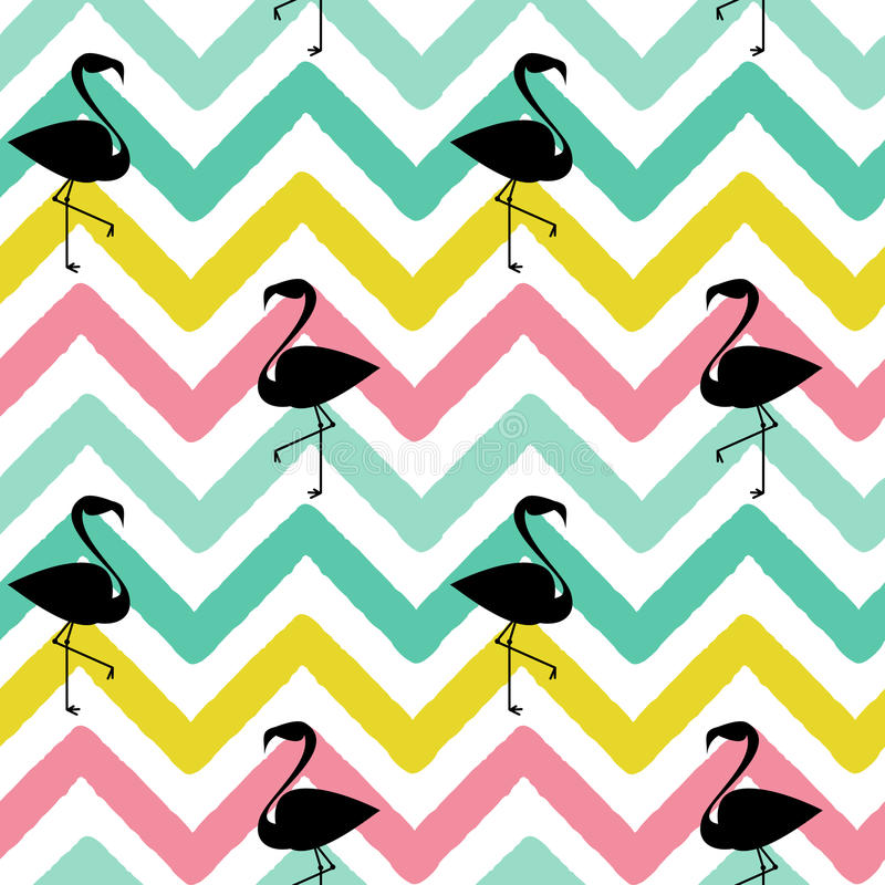 Flamingo black silhouette on abstract colorful chevron pattern seamless background illustration vector illustration