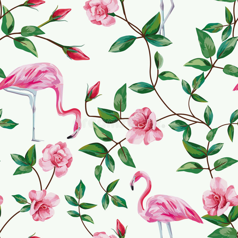 Flamingo and branch roses seamless white background vector illustration