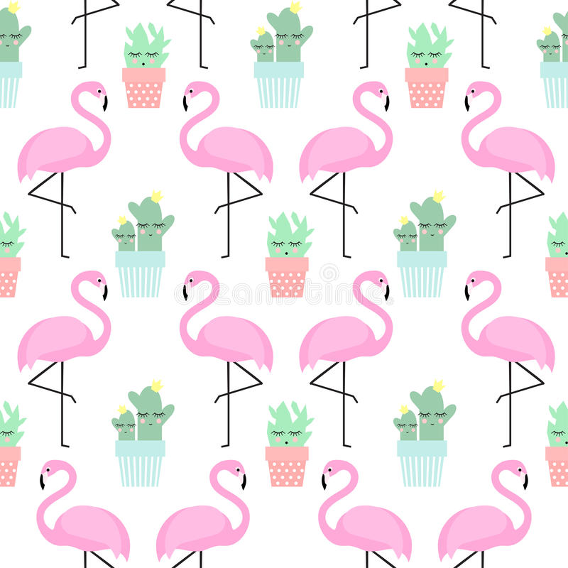 Flamingo with cactus in cute pots seamless pattern. royalty free illustration