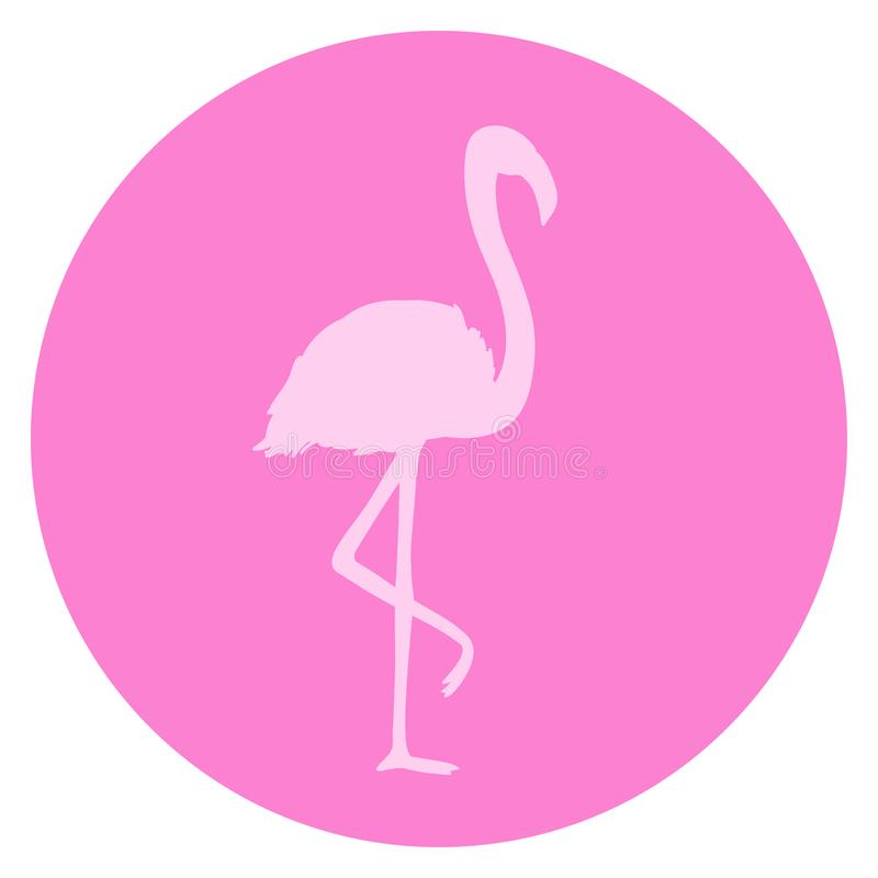 Flamingo. Cartoon bird. Image for polygraphy, t-shirts and textiles. Web icon. Colored illustration royalty free illustration